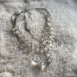 Clear beaded statement necklace